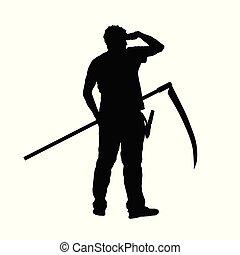 大镰刀, 人, 侧面影象, 手