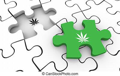 大麻, 罐, 难题, 大麻, 描述, 杂草, 解决, 块, 决赛, 3d
