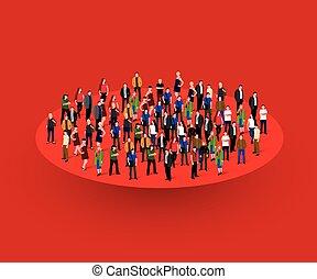 大, 人們, 人群, 在, circle., 社會, concept.
