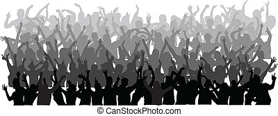 大, 人群, ......的, 跳舞, 人們