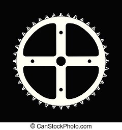 大, 前面, 自行车, cog, 结束, a, 黑色的背景
