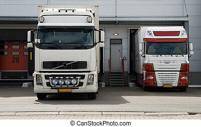 大, 卡車, 在, 裝載船塢