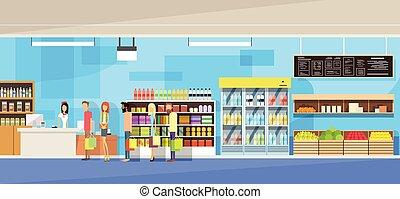 大, 商店, 內部, 銷售, 婦女, 人們, 顧客, 站, 在 線, 現金, 書桌