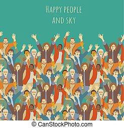 大, 团体, 开心, 人们, 同时,, sky.