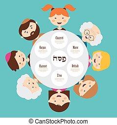 大, 家庭, 大約, passover, 盤子, pesah, 在, hebrew., 愉快, holiday.