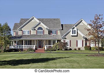 大, 家, 由于, 前面門廊, 以及, 雪松, 屋頂