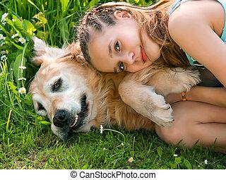 大, 小女孩, 狗, 拥抱