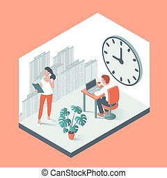 大, 工作, 辦公室人們, 針對, 背景, clock.