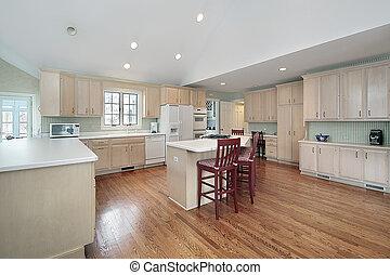 大, 廚房, 在, 郊區的家