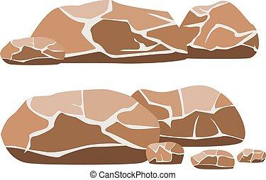 大, 描述, 岩石, 矢量, 背景, 小, 白色