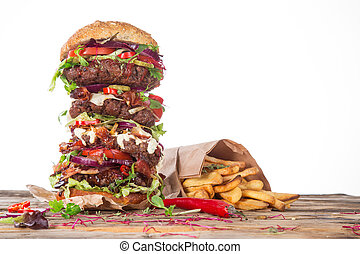 大, 木頭, 漢堡包, 美味