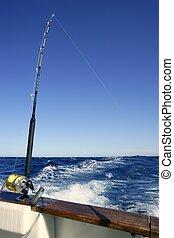 大, 游戲, saltwater, 釣魚, 釣魚者, 小船