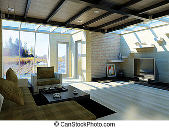 大, 現代, livingroom, windows.