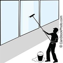 大, 窗子洗東西的人