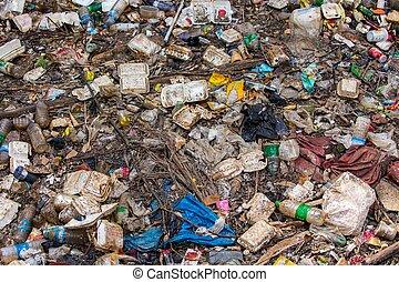大, 自然, 垃圾, 污染