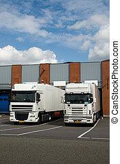 大, 裝貨, 卡車, 船塢