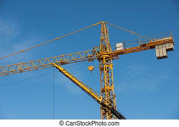 大, 起重機, constuction, 站點, 黃色