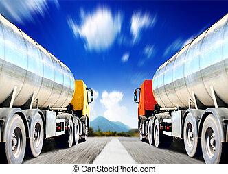大, 路, 瀝青, 卡車