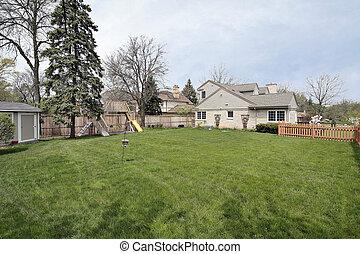 大, 邊, 院子, ......的, 郊區的家