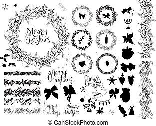 大, 集合, 由于, 葡萄酒, 聖誕節, decoration., 喜慶, 元素, 以及, 符號, 為, 新年, 季節, design., 單色, 黑色 和 白色, 手, drawn.