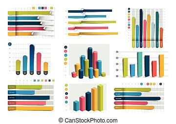 大, 集合, ......的, charst, graphs., 藍色, color., infographics, 事務, elements.