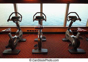 大, 體操, 大廳, 由于, 練習自行車, 近, 窗口, 由于, 看法, 上, 海, 在, 游覽班船