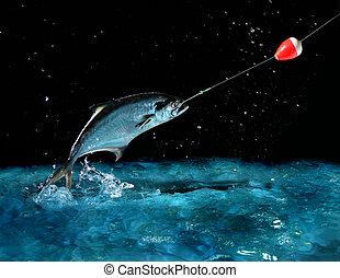 大 魚, 抓住, 夜晚