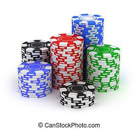 大, stack., 扑克牌, 赌博芯片