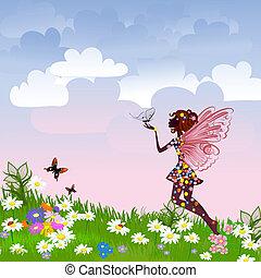 天上, 仙女, 在上, a, 花, 草地