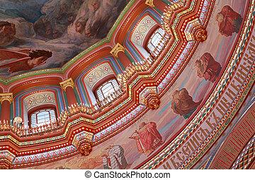 天井, キリスト, 窓, 蝋燭, 中, 飾られる, モスクワ, 救助者, 大聖堂, ロシア, 描かれる