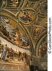 天井, バチカン, museum., フレスコ画