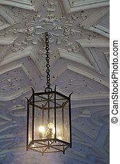 天井, 掛かっているランプ, 化粧しっくい