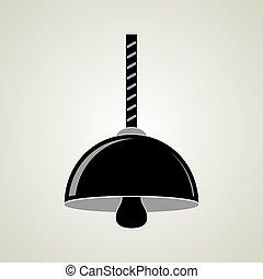 天井, 黒, ランプ, 掛かること