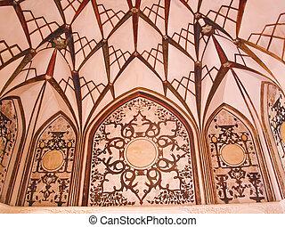 天井, kashan, 古い, 家, 装飾, 歴史的, 内部, イラン