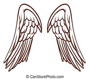 天使の翼, スケッチ, 単純である