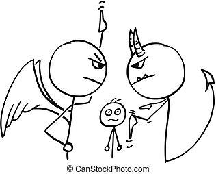 天使, について, 悪魔, 論争, 人, ベクトル, 漫画, 戦い
