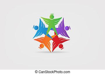 天使, 人々, 統一, チームワーク, ロゴ, アイコン