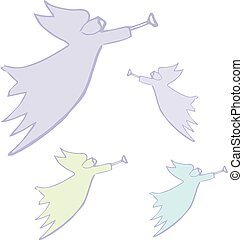 天使, 単純である, 隔離された, イラスト, シルエット, ベクトル, white., 翼