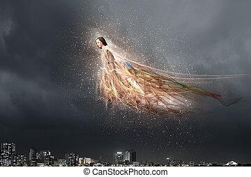 天使, 女の子, 高い飛行
