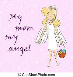 天使, 媽媽, 籃子, 女孩, 花, 我