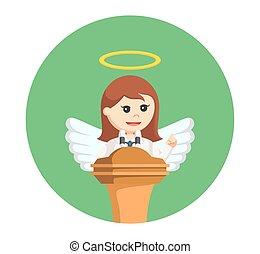 天使, 寄付, 女性実業家, スピーチ, 背景, 円