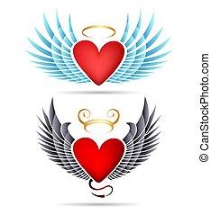 天使, 心, 紋章, 飛ぶ, 悪魔