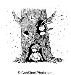 天使, 树, 鸟, 洼地, 观看, bunny