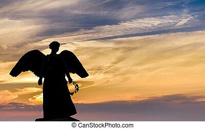 天使, 背景, 日没, 彫刻