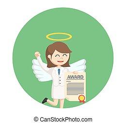 天使, 証明書, 女性実業家, 賞, 背景, 円