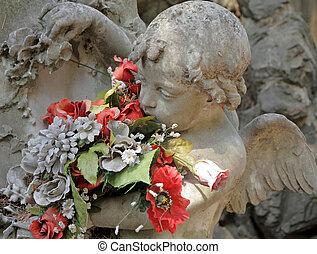 天使, 雕刻, 带, 花, 细节, 在中, 美丽, 坟墓, 在上, 纪念碑, 公墓, 在中, italy, staglieno, genova, liguria, europe