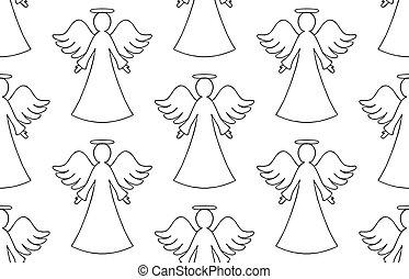 天使, seamless, パターン, 背景, ベクトル, 輪郭, 黒, 白