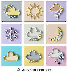 天候, セット, 予報, 3d
