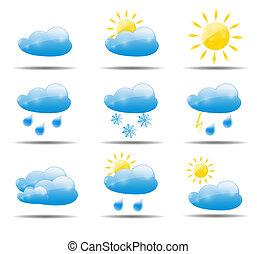 天候, ベクトル, セット, イラスト, アイコン