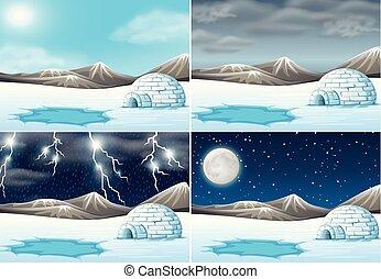 天候, 別, セット, 冬の景色